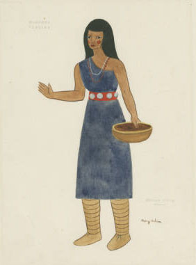 watercolor titled Mexican Indian woman, costume design