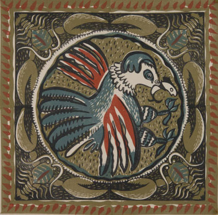 block printed textile motif of bird with fish