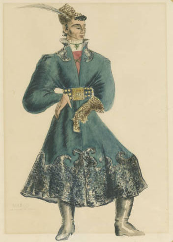 watercolor costume design titled Marc en route to Persia
