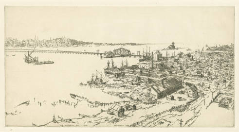 etching titled Old Sturgeon Bay