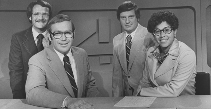 WTMJ-TV news team, mid-1970s: Pete Wilson, John McCullough, Hal Douglas, and Joanne Williams (L-R)