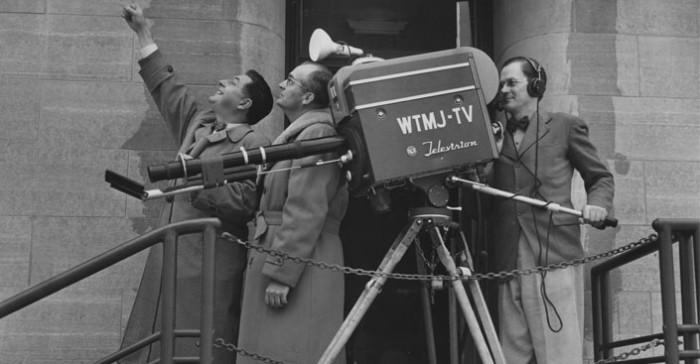 Gordon Thomas, Phil Laeser, and cameraman Edwin Barthel, March 1953 (L-R)