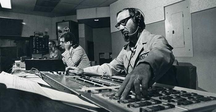 Television control room, circa 1970s.